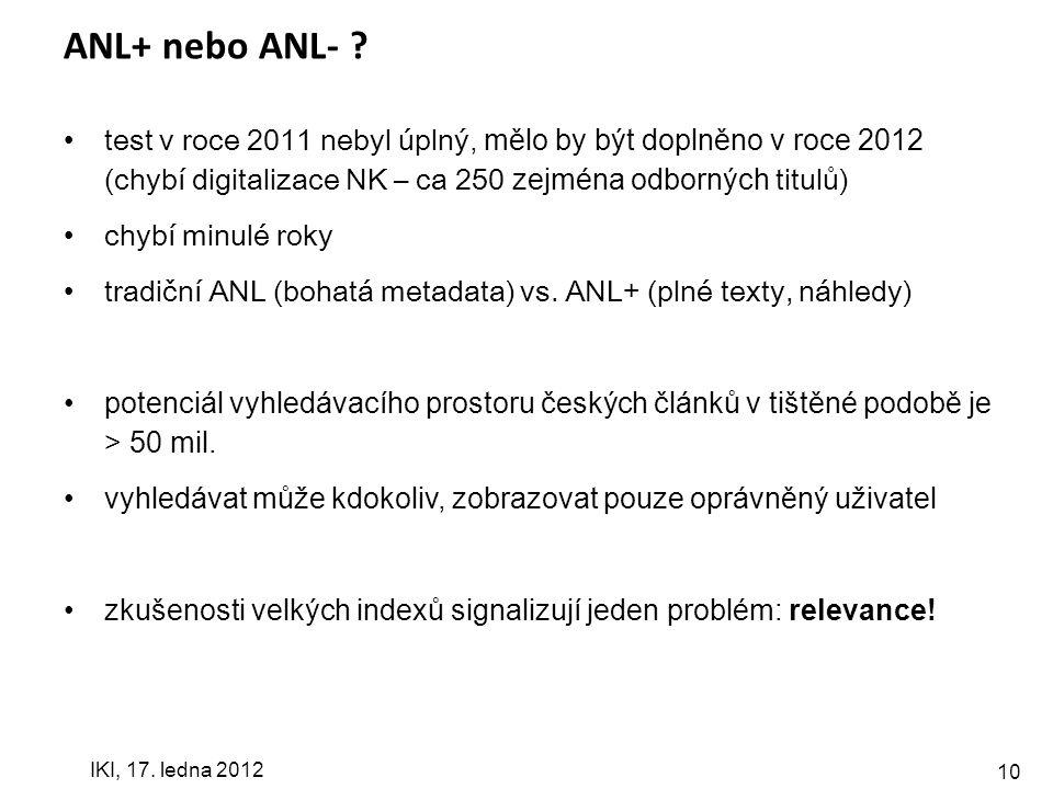 10 ANL+ nebo ANL- .