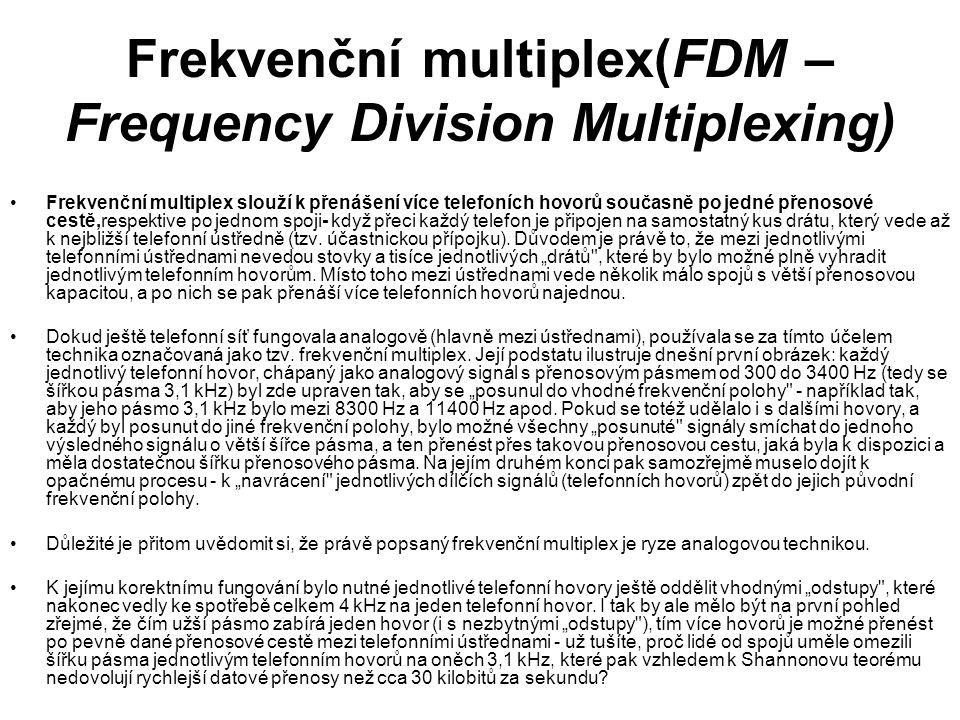 Frekvenční multiplex(FDM – Frequency Division Multiplexing) Frekvenční multiplex slouží k přenášení více telefoních hovorů současně po jedné přenosové