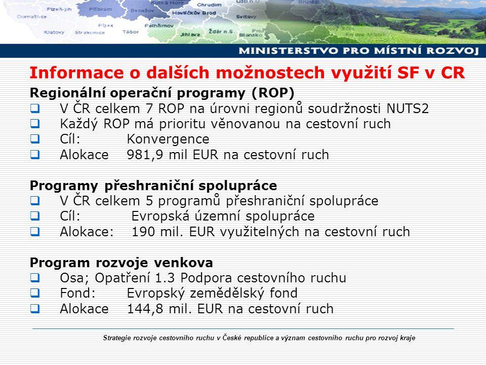 Strategie rozvoje cestovního ruchu v České republice a význam cestovního ruchu pro rozvoj kraje Informace o dalších možnostech využití SF v CR Regionální operační programy (ROP)  V ČR celkem 7 ROP na úrovni regionů soudržnosti NUTS2  Každý ROP má prioritu věnovanou na cestovní ruch  Cíl: Konvergence  Alokace981,9 mil EUR na cestovní ruch Programy přeshraniční spolupráce  V ČR celkem 5 programů přeshraniční spolupráce  Cíl: Evropská územní spolupráce  Alokace: 190 mil.