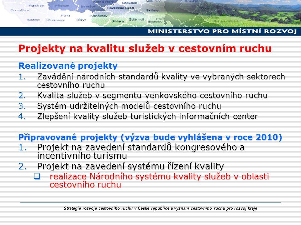 Strategie rozvoje cestovního ruchu v České republice a význam cestovního ruchu pro rozvoj kraje Projekty na kvalitu služeb v cestovním ruchu Realizova