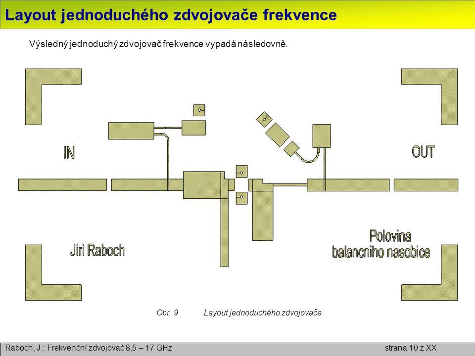 Layout jednoduchého zdvojovače frekvence Raboch, J.: Frekvenční zdvojovač 8,5 – 17 GHz strana 10 z XX Výsledný jednoduchý zdvojovač frekvence vypadá n
