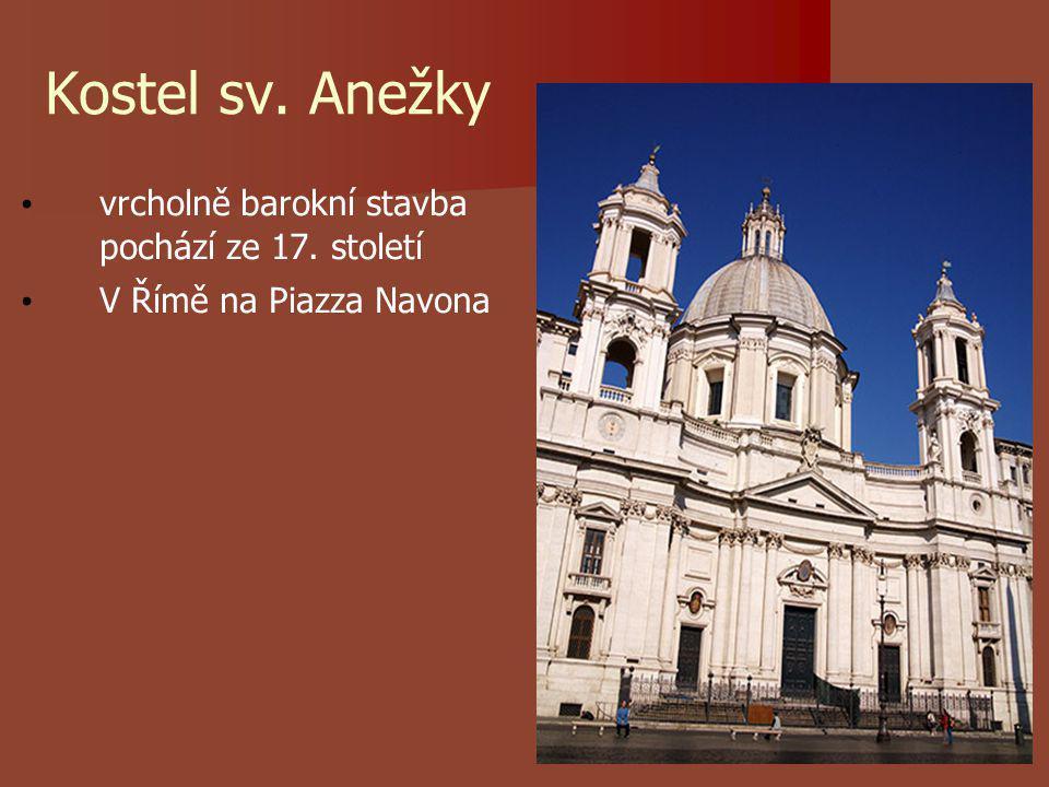 Kostel sv. Anežky vrcholně barokní stavba pochází ze 17. století V Římě na Piazza Navona