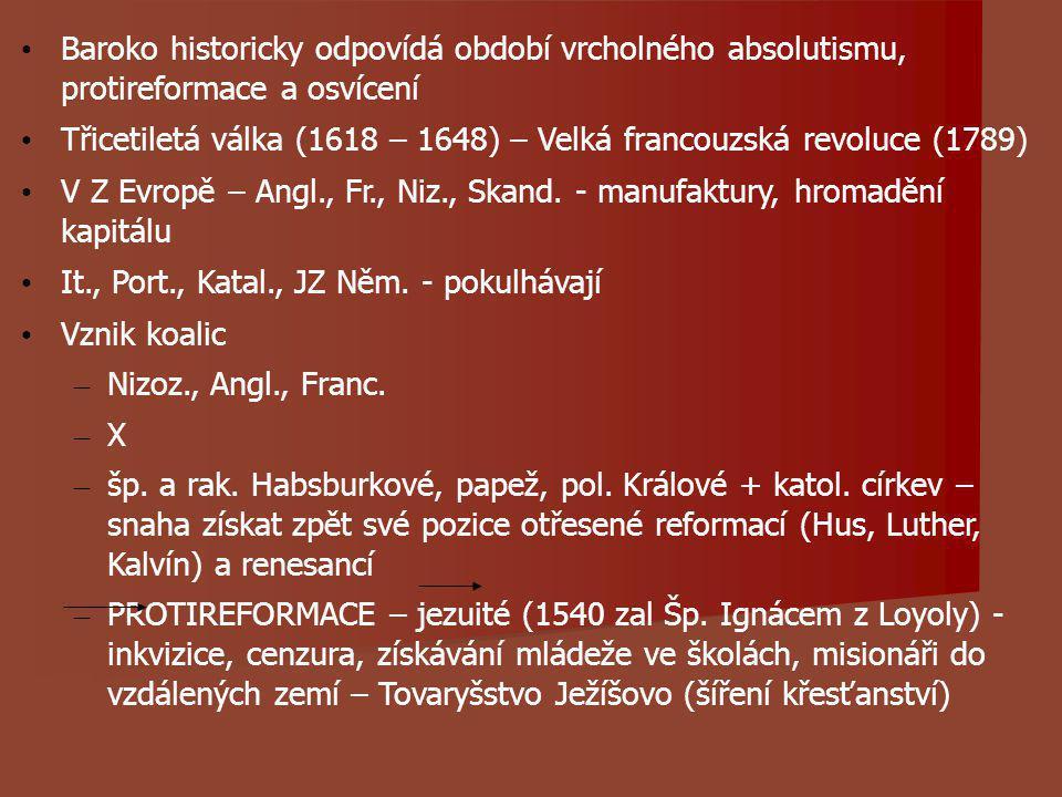 Baroko historicky odpovídá období vrcholného absolutismu, protireformace a osvícení Třicetiletá válka (1618 – 1648) – Velká francouzská revoluce (1789) V Z Evropě – Angl., Fr., Niz., Skand.