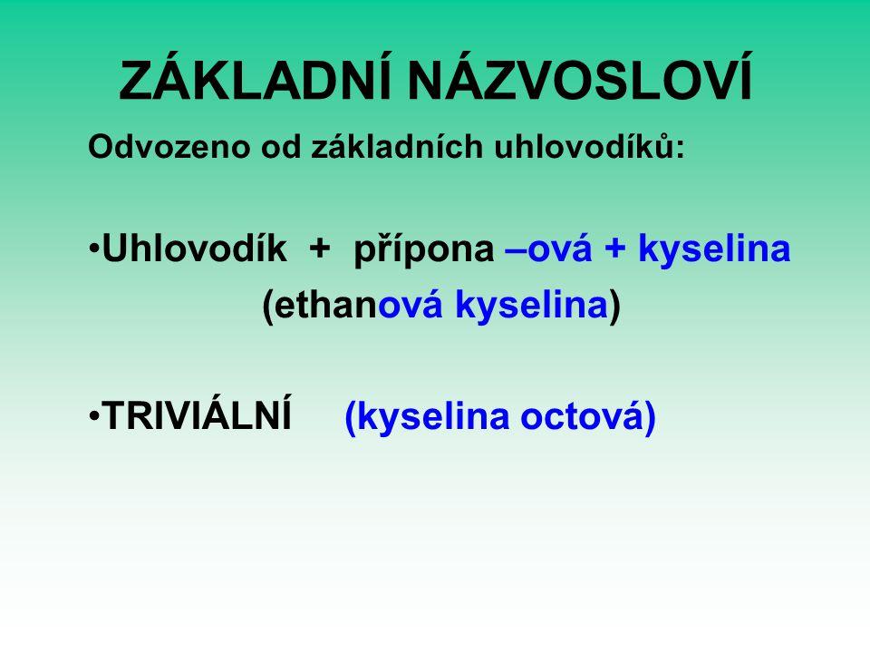 ZÁKLADNÍ NÁZVOSLOVÍ Odvozeno od základních uhlovodíků: Uhlovodík + přípona –ová + kyselina (ethanová kyselina) TRIVIÁLNÍ (kyselina octová)