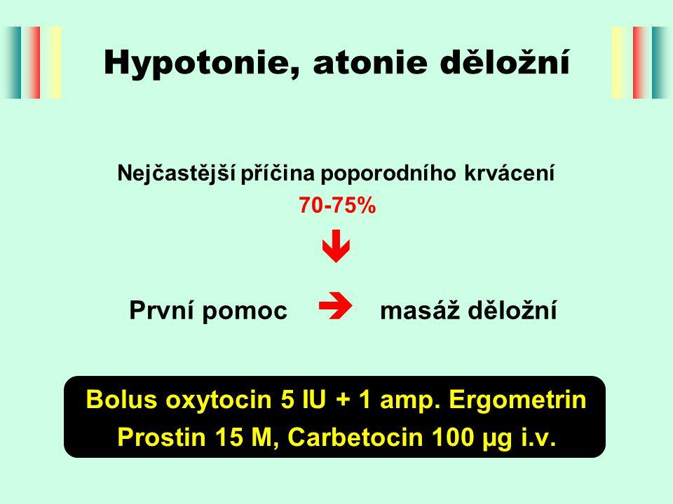 Nejčastější příčina poporodního krvácení 70-75%  První pomoc  masáž děložní Hypotonie, atonie děložní Bolus oxytocin 5 IU + 1 amp.