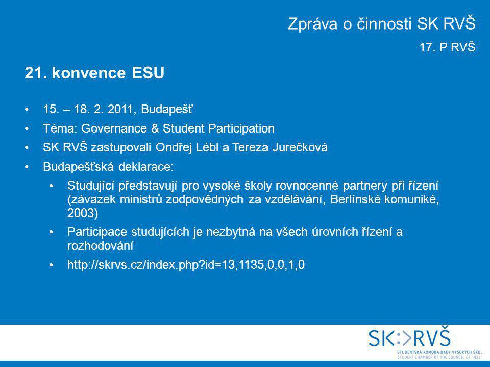 15. – 18. 2. 2011, Budapešť Téma: Governance & Student Participation SK RVŠ zastupovali Ondřej Lébl a Tereza Jurečková Budapešťská deklarace: Studujíc