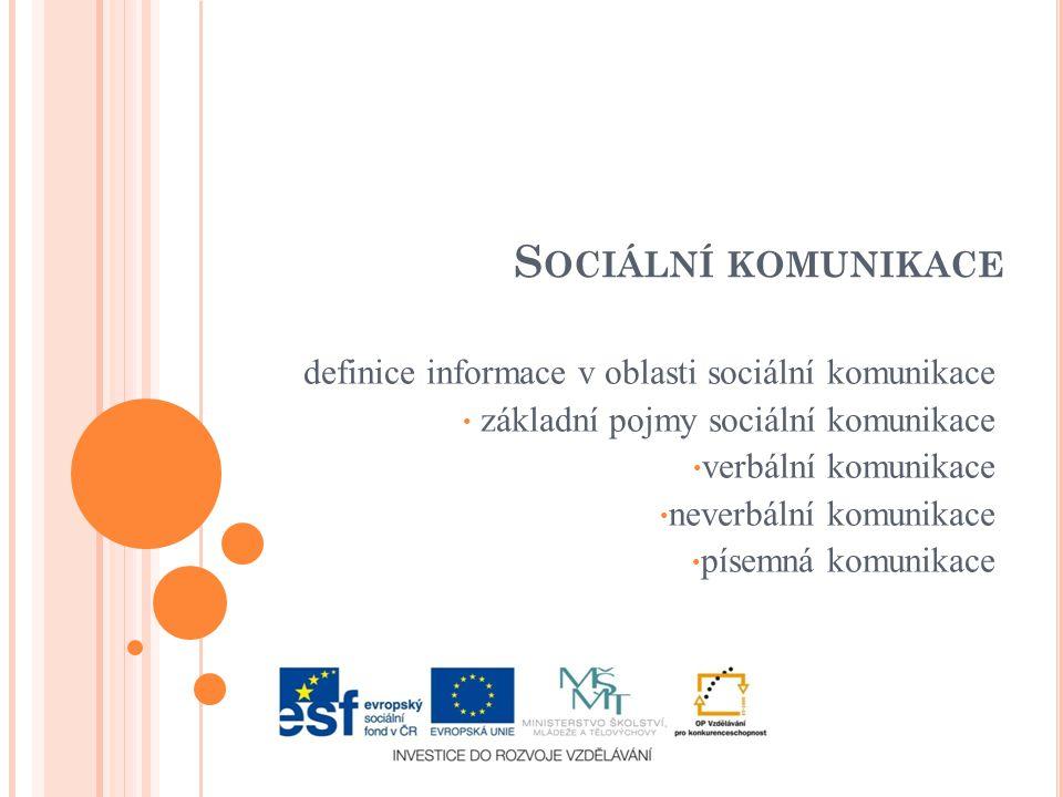 S OCIÁLNÍ KOMUNIKACE definice informace v oblasti sociální komunikace základní pojmy sociální komunikace verbální komunikace neverbální komunikace písemná komunikace