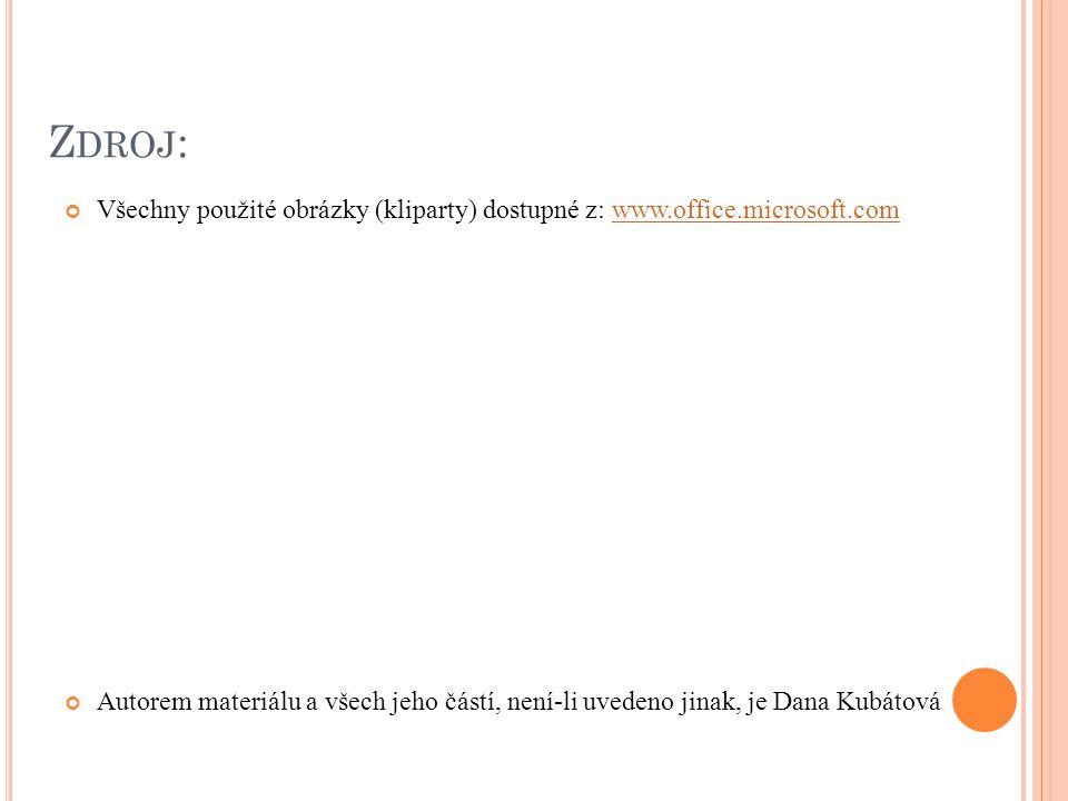 Z DROJ : Všechny použité obrázky (kliparty) dostupné z: www.office.microsoft.comwww.office.microsoft.com Autorem materiálu a všech jeho částí, není-li uvedeno jinak, je Dana Kubátová