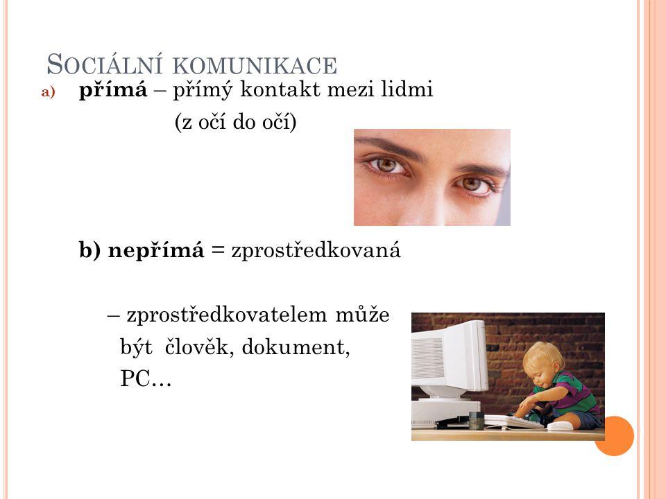 S OCIÁLNÍ KOMUNIKACE a) přímá – přímý kontakt mezi lidmi (z očí do očí) b) nepřímá = zprostředkovaná – zprostředkovatelem může být člověk, dokument, PC…