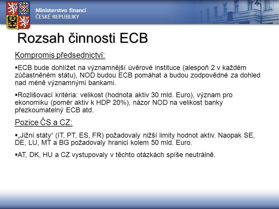 Ministerstvo financí ČESKÉ REPUBLIKY Rozsah činnosti ECB Kompromis předsednictví:  ECB bude dohlížet na významnější úvěrové instituce (alespoň 2 v ka