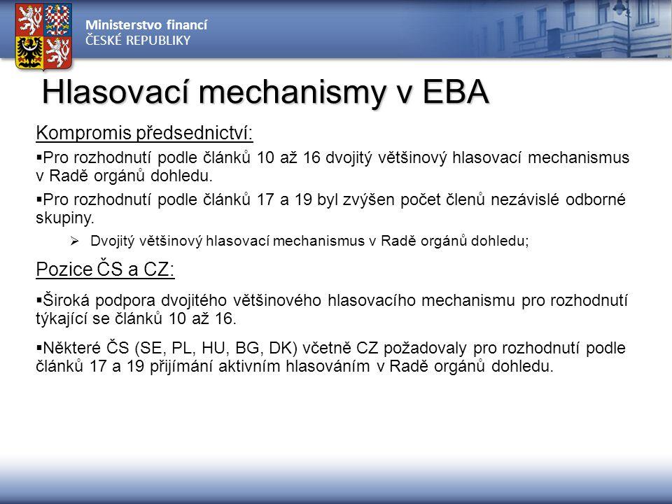 Ministerstvo financí ČESKÉ REPUBLIKY Hlasovací mechanismy v EBA Kompromis předsednictví:  Pro rozhodnutí podle článků 10 až 16 dvojitý většinový hlas