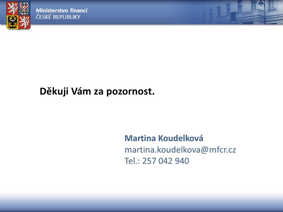 Ministerstvo financí ČESKÉ REPUBLIKY Děkuji Vám za pozornost. Martina Koudelková martina.koudelkova@mfcr.cz Tel.: 257 042 940