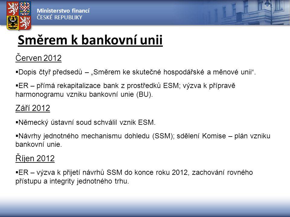 """Ministerstvo financí ČESKÉ REPUBLIKY Směrem k bankovní unii Červen 2012  Dopis čtyř předsedů – """"Směrem ke skutečné hospodářské a měnové unii"""".  ER –"""