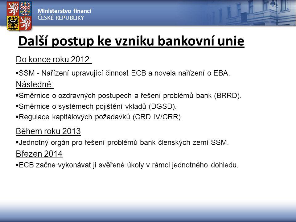 Ministerstvo financí ČESKÉ REPUBLIKY Další postup ke vzniku bankovní unie Do konce roku 2012:  SSM - Nařízení upravující činnost ECB a novela nařízen