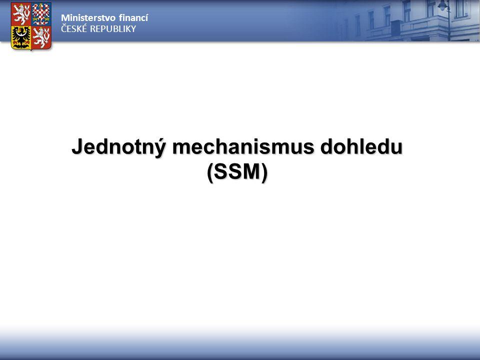 Ministerstvo financí ČESKÉ REPUBLIKY Jednotný mechanismus dohledu (SSM)