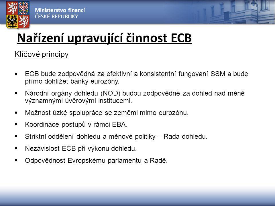 Ministerstvo financí ČESKÉ REPUBLIKY Nařízení upravující činnost ECB Klíčové principy  ECB bude zodpovědná za efektivní a konsistentní fungovaní SSM