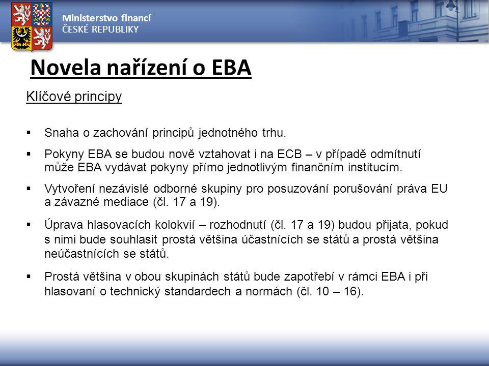 Ministerstvo financí ČESKÉ REPUBLIKY Novela nařízení o EBA Klíčové principy  Snaha o zachování principů jednotného trhu.  Pokyny EBA se budou nově v