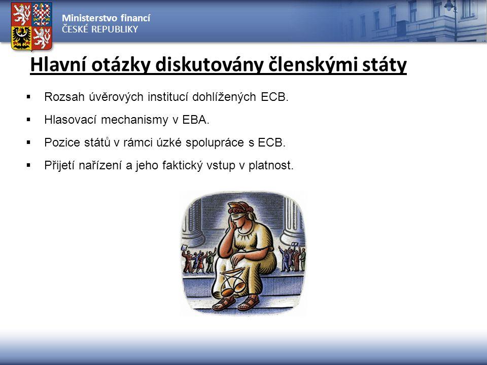 Ministerstvo financí ČESKÉ REPUBLIKY Hlavní otázky diskutovány členskými státy  Rozsah úvěrových institucí dohlížených ECB.  Hlasovací mechanismy v