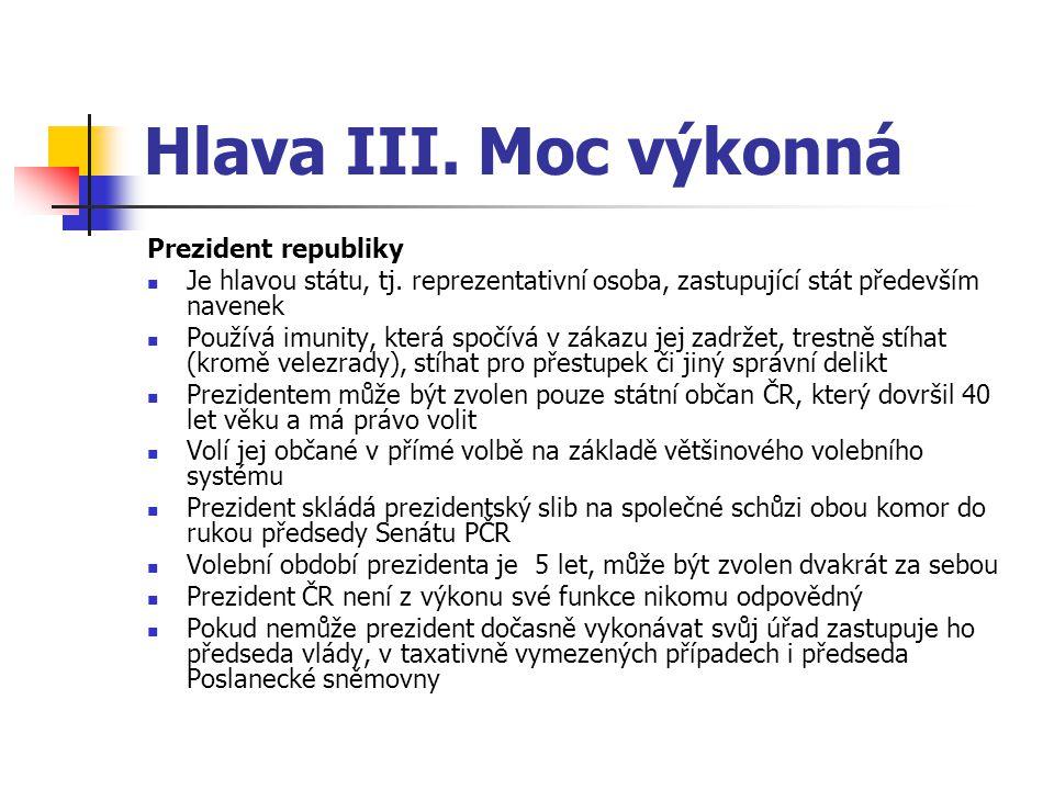 Hlava III.Moc výkonná Prezident republiky Je hlavou státu, tj.