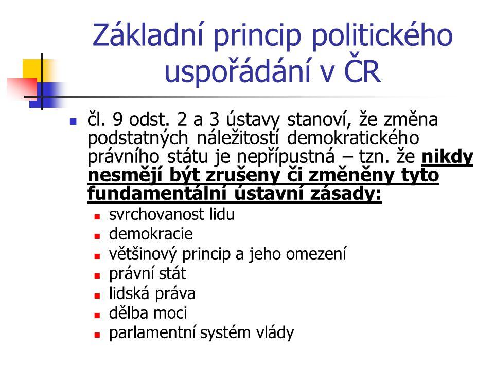 Základní princip politického uspořádání v ČR čl.9 odst.