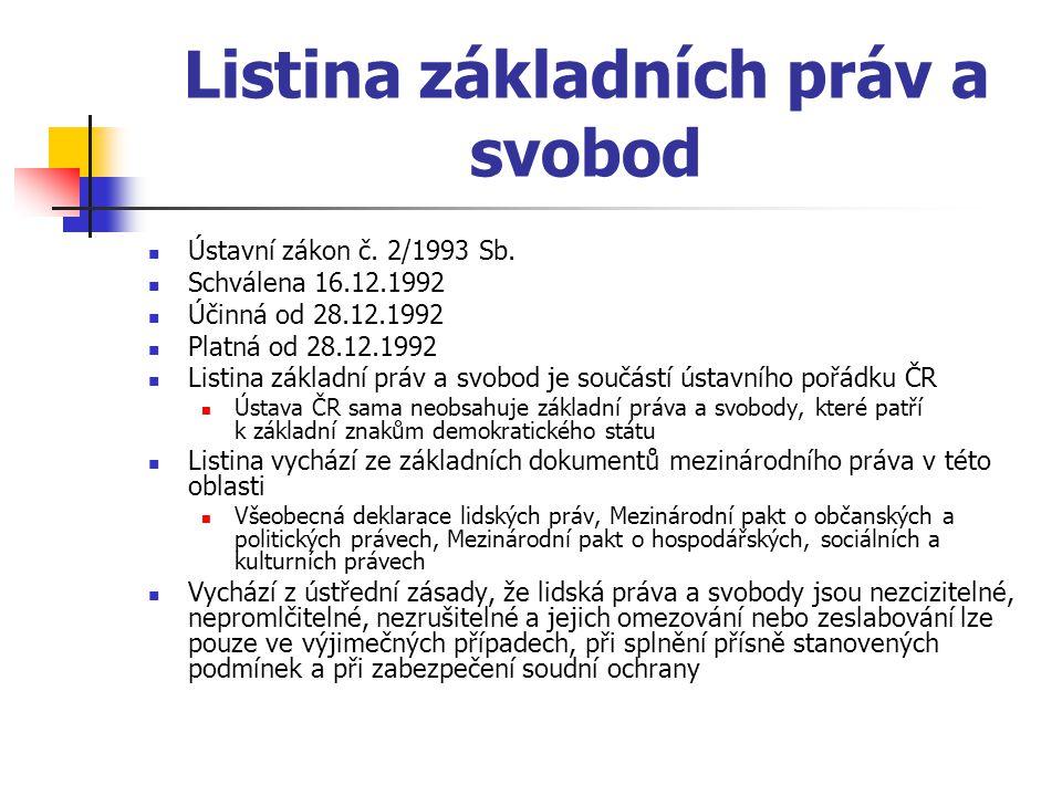 Listina základních práv a svobod Ústavní zákon č.2/1993 Sb.