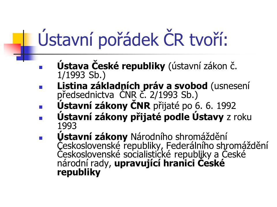 Ústava České republiky Ústavní zákon č.1/1993 Sb.