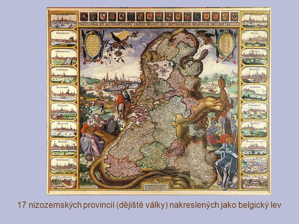 17 nizozemských provincií (dějiště války) nakreslených jako belgický lev