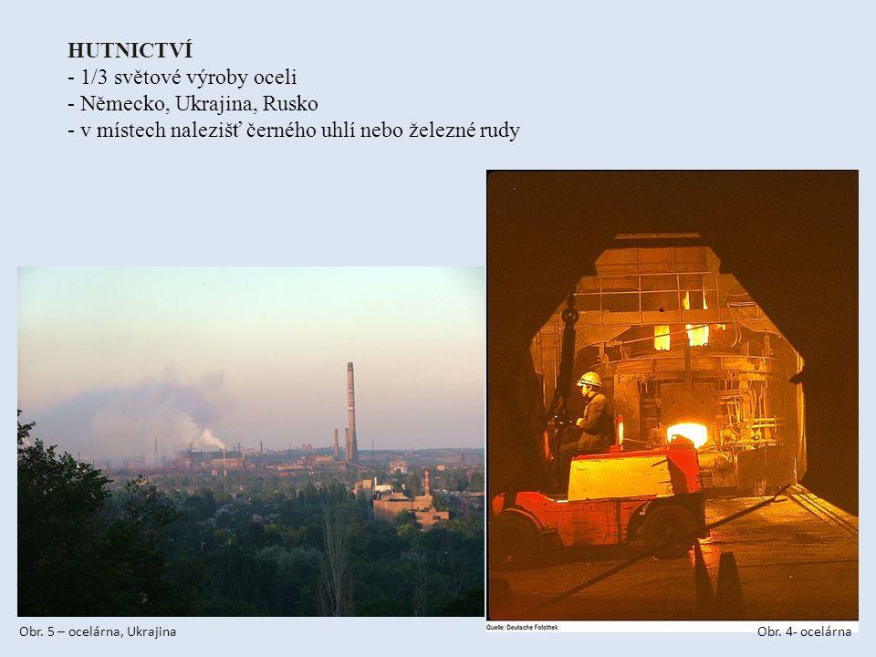 HUTNICTVÍ - 1/3 světové výroby oceli - Německo, Ukrajina, Rusko - v místech nalezišť černého uhlí nebo železné rudy Obr.