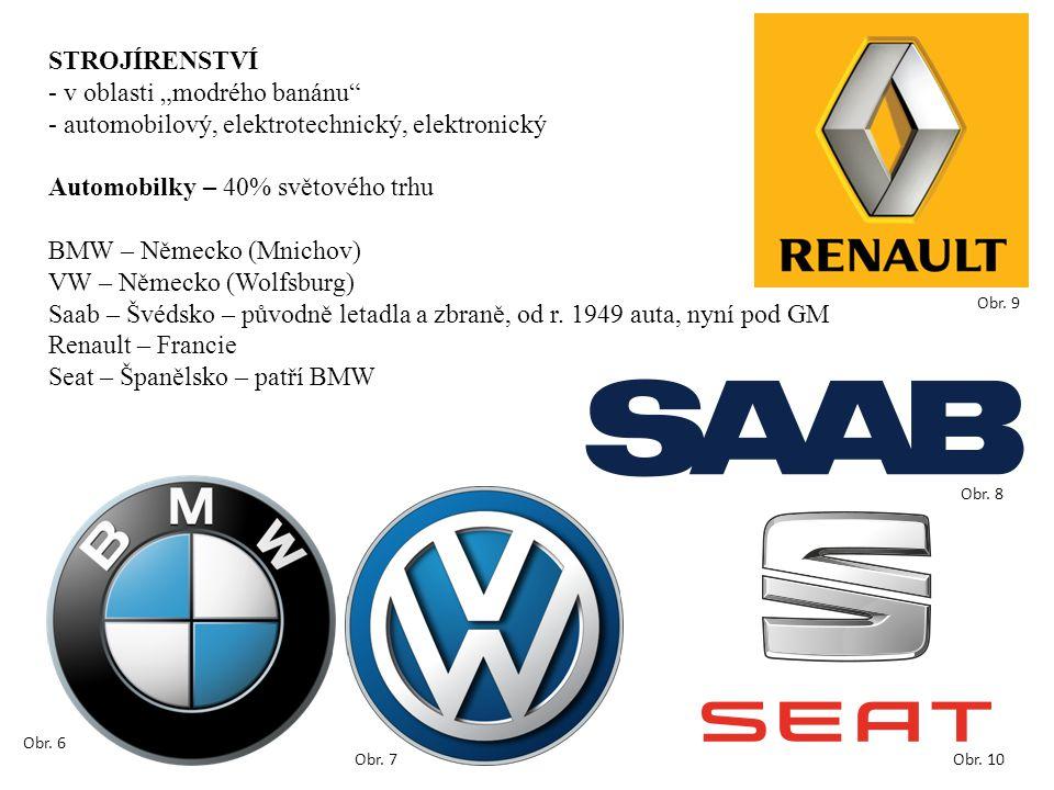 """STROJÍRENSTVÍ - v oblasti """"modrého banánu - automobilový, elektrotechnický, elektronický Automobilky – 40% světového trhu BMW – Německo (Mnichov) VW – Německo (Wolfsburg) Saab – Švédsko – původně letadla a zbraně, od r."""