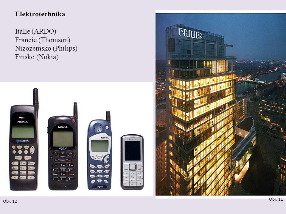 Elektrotechnika Itálie (ARDO) Francie (Thomson) Nizozemsko (Philips) Finsko (Nokia) Obr. 11 Obr. 12