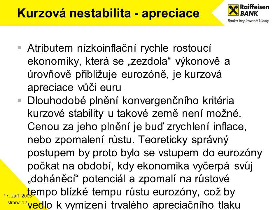 """17. září 2008 strana 12 Kurzová nestabilita - apreciace  Atributem nízkoinflační rychle rostoucí ekonomiky, která se """"zezdola"""" výkonově a úrovňově př"""