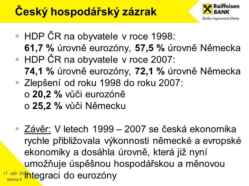 17. září 2008 strana 4 Český hospodářský zázrak  HDP ČR na obyvatele v roce 1998: 61,7 % úrovně eurozóny, 57,5 % úrovně Německa  HDP ČR na obyvatele