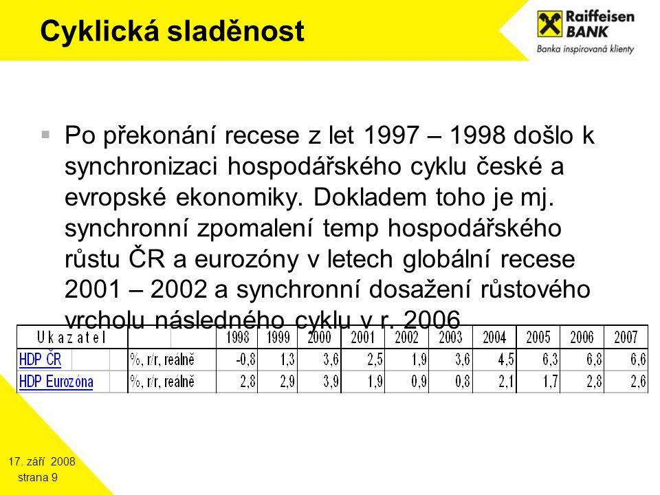 17. září 2008 strana 9 Cyklická sladěnost  Po překonání recese z let 1997 – 1998 došlo k synchronizaci hospodářského cyklu české a evropské ekonomiky