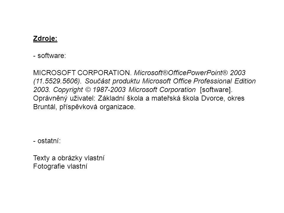 Zdroje: - software: MICROSOFT CORPORATION. Microsoft®OfficePowerPoint® 2003 (11.5529.5606). Součást produktu Microsoft Office Professional Edition 200