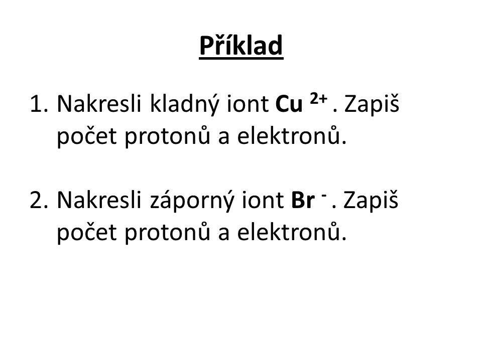 Příklad 1.Nakresli kladný iont Cu 2+. Zapiš počet protonů a elektronů. 2.Nakresli záporný iont Br -. Zapiš počet protonů a elektronů.