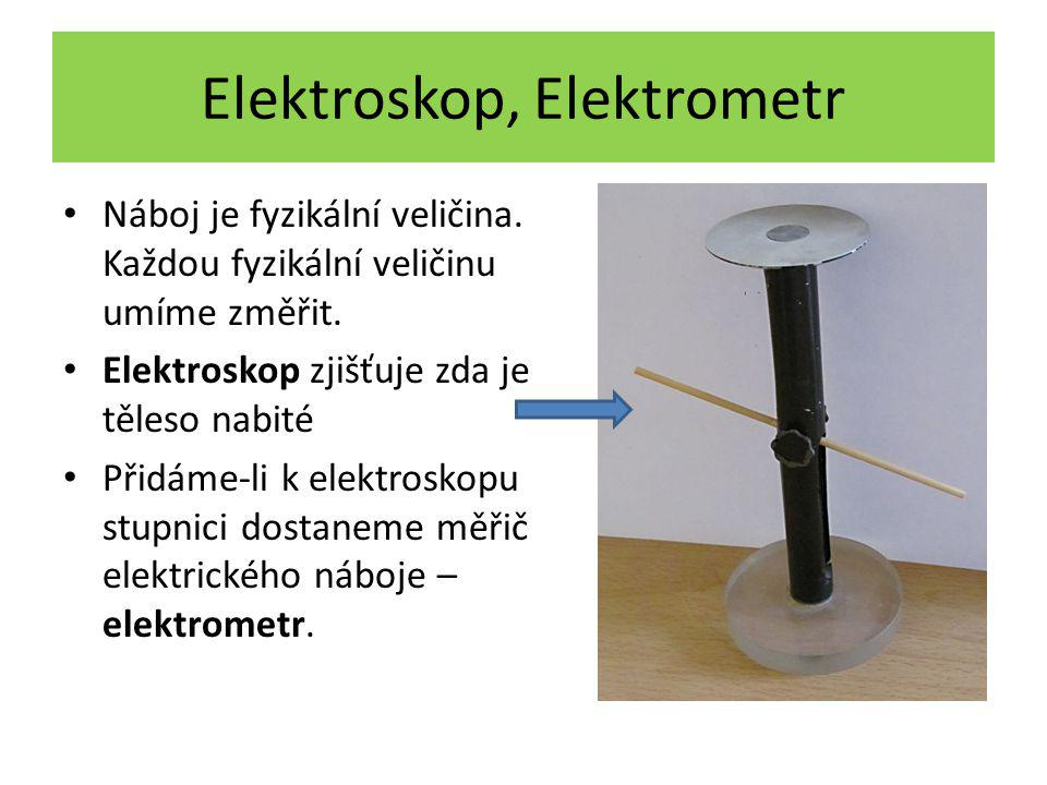 Elektroskop, Elektrometr Náboj je fyzikální veličina. Každou fyzikální veličinu umíme změřit. Elektroskop zjišťuje zda je těleso nabité Přidáme-li k e