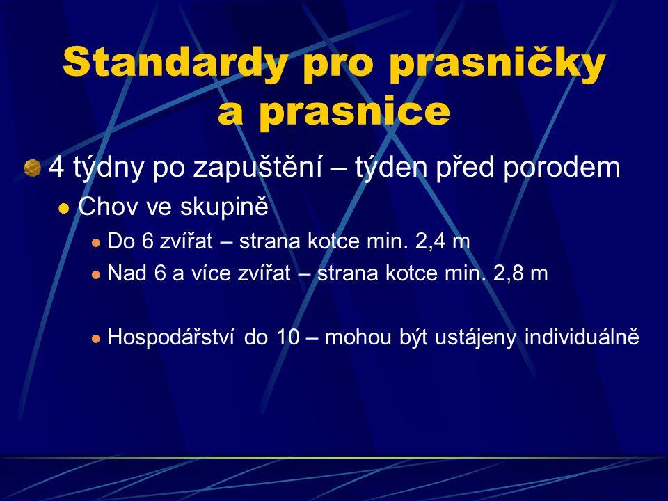 Standardy pro prasničky a prasnice 4 týdny po zapuštění – týden před porodem Chov ve skupině Do 6 zvířat – strana kotce min.