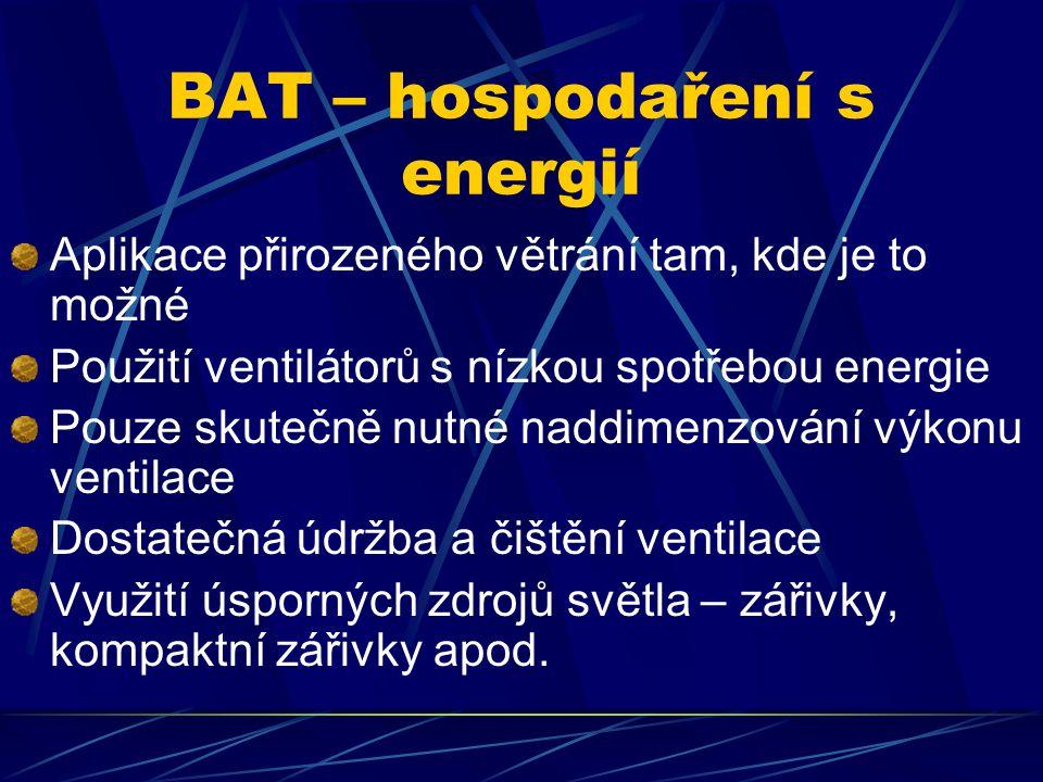 BAT – hospodaření s energií Aplikace přirozeného větrání tam, kde je to možné Použití ventilátorů s nízkou spotřebou energie Pouze skutečně nutné naddimenzování výkonu ventilace Dostatečná údržba a čištění ventilace Využití úsporných zdrojů světla – zářivky, kompaktní zářivky apod.