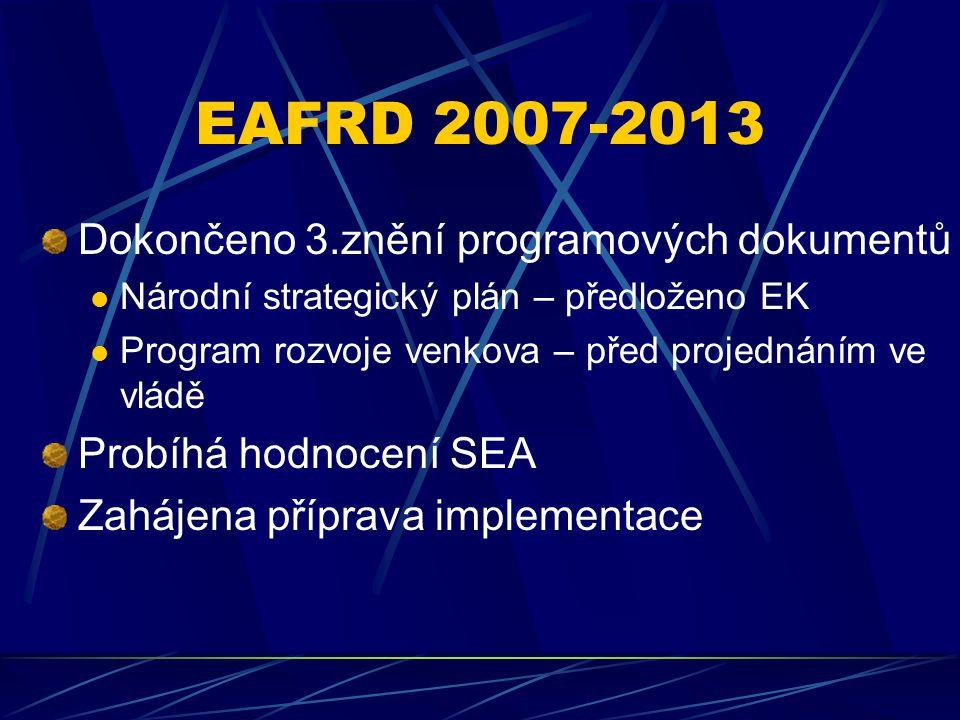 EAFRD 2007-2013 Dokončeno 3.znění programových dokumentů Národní strategický plán – předloženo EK Program rozvoje venkova – před projednáním ve vládě Probíhá hodnocení SEA Zahájena příprava implementace