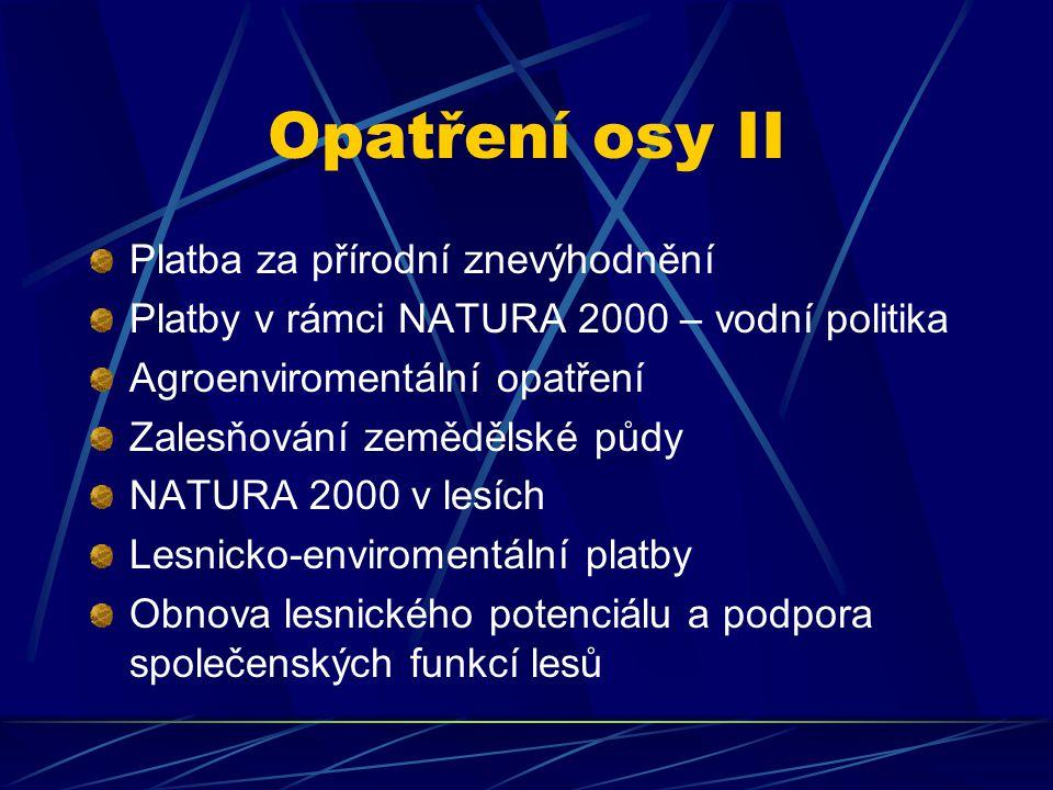Opatření osy II Platba za přírodní znevýhodnění Platby v rámci NATURA 2000 – vodní politika Agroenviromentální opatření Zalesňování zemědělské půdy NATURA 2000 v lesích Lesnicko-enviromentální platby Obnova lesnického potenciálu a podpora společenských funkcí lesů