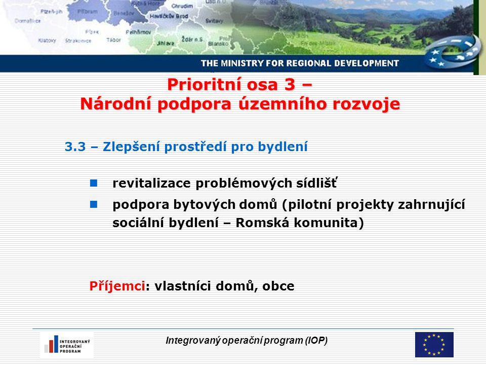 Integrovaný operační program (IOP) Prioritní osa 3 – Národní podpora územního rozvoje 3.3 – Zlepšení prostředí pro bydlení revitalizace problémových sídlišť podpora bytových domů (pilotní projekty zahrnující sociální bydlení – Romská komunita) Příjemci: vlastníci domů, obce