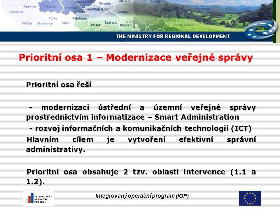 Integrovaný operační program (IOP) Prioritní osa 1 – Modernizace veřejné správy rioritní osa řeší Prioritní osa řeší - modernizaci ústřední a územní veřejné správy prostřednictvím informatizace – Smart Administration - modernizaci ústřední a územní veřejné správy prostřednictvím informatizace – Smart Administration - rozvoj informačních a komunikačních technologií (ICT) - rozvoj informačních a komunikačních technologií (ICT) Hlavním cílem je vytvoření efektivní správní administrativy.