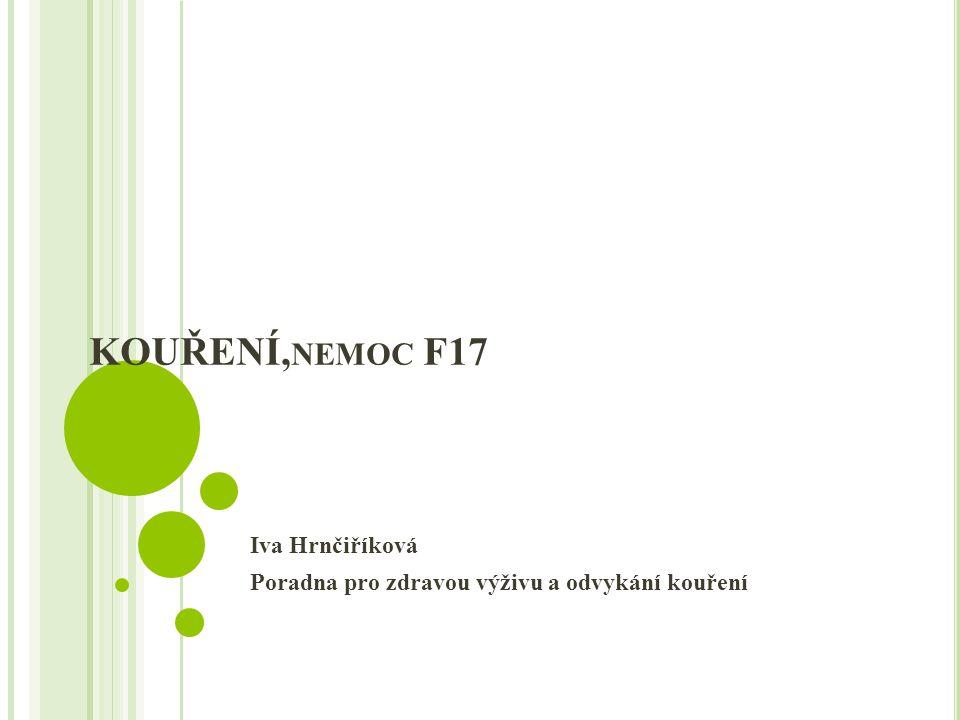 KOUŘENÍ, NEMOC F17 Iva Hrnčiříková Poradna pro zdravou výživu a odvykání kouření