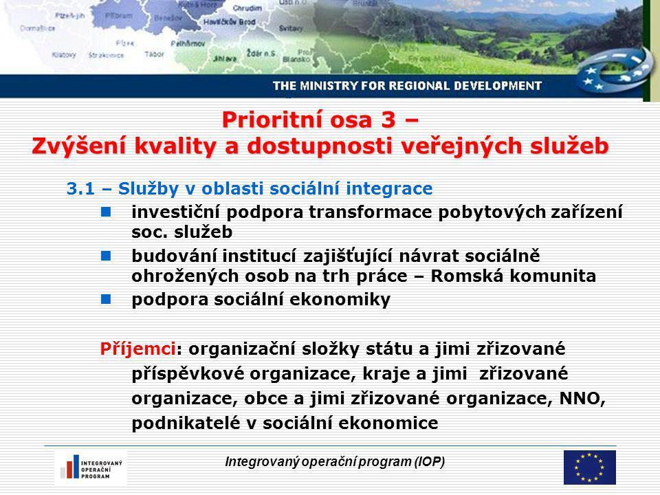 Integrovaný operační program (IOP) Prioritní osa 3 – Zvýšení kvality a dostupnosti veřejných služeb 3.1 – Služby v oblasti sociální integrace investiční podpora transformace pobytových zařízení soc.