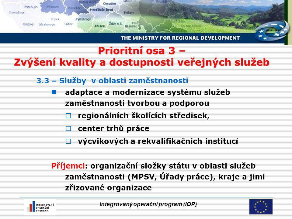 Integrovaný operační program (IOP) Prioritní osa 3 – Zvýšení kvality a dostupnosti veřejných služeb 3.3 – Služby v oblasti zaměstnanosti adaptace a modernizace systému služeb zaměstnanosti tvorbou a podporou  regionálních školících středisek,  center trhů práce  výcvikových a rekvalifikačních institucí Příjemci: organizační složky státu v oblasti služeb zaměstnanosti (MPSV, Úřady práce), kraje a jimi zřizované organizace