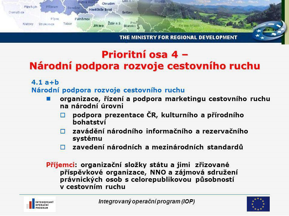 Integrovaný operační program (IOP) Prioritní osa 4 – Národní podpora rozvoje cestovního ruchu 4.1 a+b Národní podpora rozvoje cestovního ruchu organiz