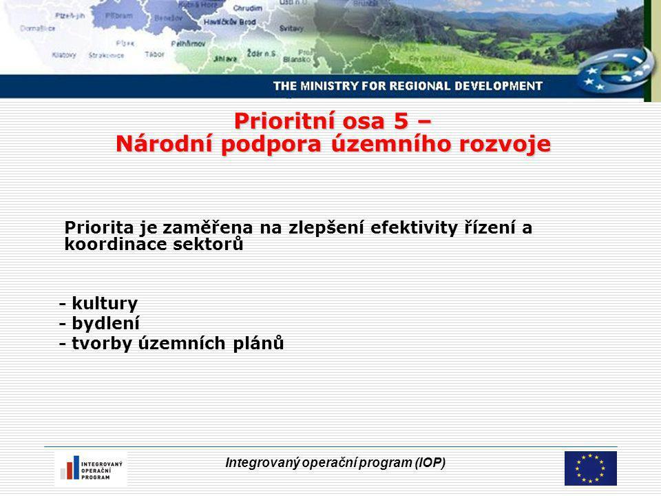 Integrovaný operační program (IOP) Prioritní osa 5 – Národní podpora územního rozvoje Priorita je zaměřena na zlepšení efektivity řízení a koordinace sektorů - kultury - bydlení - tvorby územních plánů