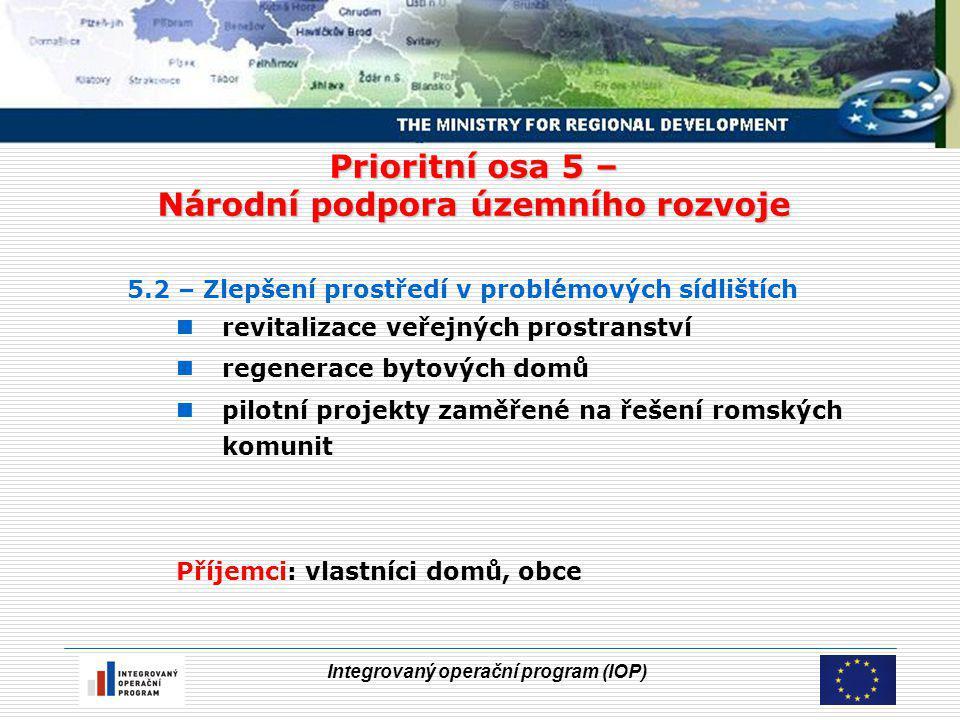 Integrovaný operační program (IOP) Prioritní osa 5 – Národní podpora územního rozvoje 5.2 – Zlepšení prostředí v problémových sídlištích revitalizace veřejných prostranství regenerace bytových domů pilotní projekty zaměřené na řešení romských komunit Příjemci: vlastníci domů, obce