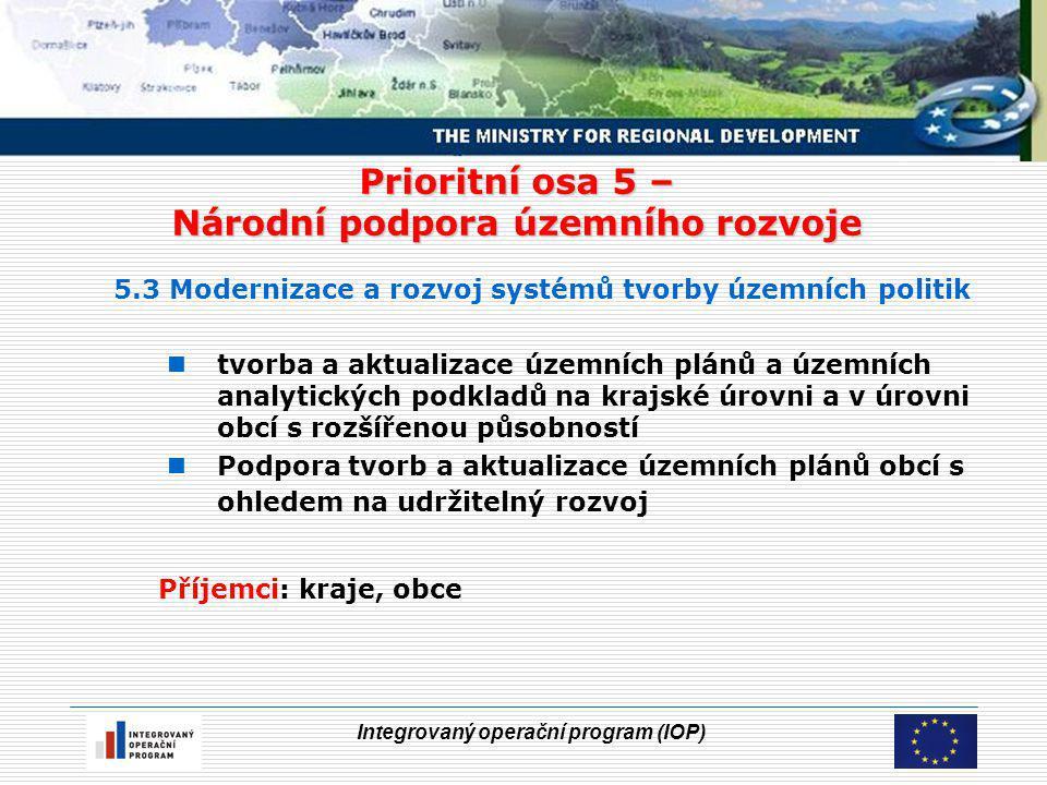 Integrovaný operační program (IOP) Prioritní osa 5 – Národní podpora územního rozvoje 5.3 Modernizace a rozvoj systémů tvorby územních politik tvorba a aktualizace územních plánů a územních analytických podkladů na krajské úrovni a v úrovni obcí s rozšířenou působností Podpora tvorb a aktualizace územních plánů obcí s ohledem na udržitelný rozvoj Příjemci: kraje, obce