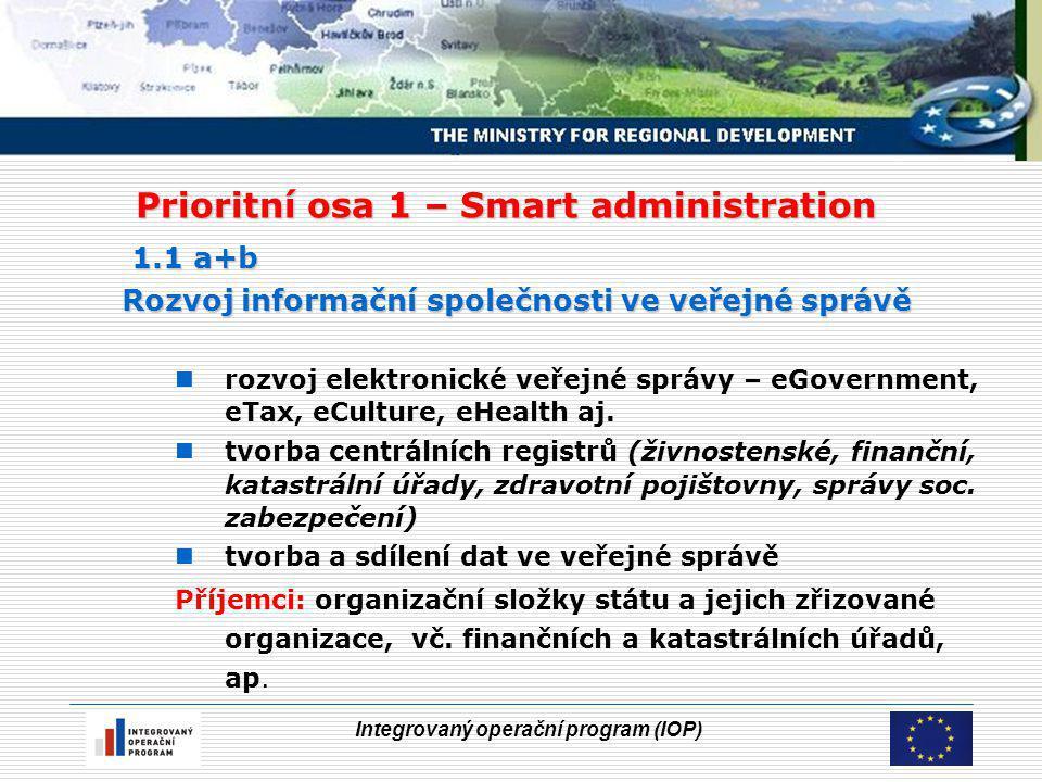 Integrovaný operační program (IOP) Prioritní osa 1 – Smart administration 1.1 a+b Rozvoj informační společnosti ve veřejné správě rozvoj elektronické veřejné správy – eGovernment, eTax, eCulture, eHealth aj.